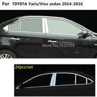 Auto styling edelstahl glas fenster garnieren säule mittleren spalte trim hauben Für Toyota Vios/Yaris limousine 2014 2015 2016-in Chrom-Styling aus Kraftfahrzeuge und Motorräder bei