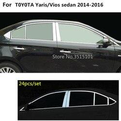 Car Styling ze stali nierdzewnej szklane okno dekoracji filar środkowa kolumna wykończenia okapy dla Toyota Vios/Yaris Sedan 2014 2015 2016