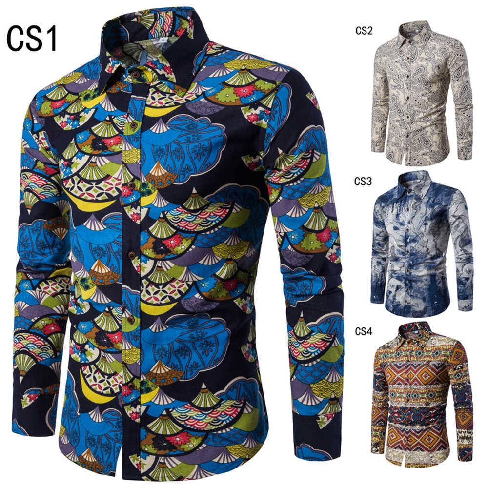 2018 春秋の新メンズファッション長袖シャツカジュアルビーチスタイル人格プリントトップスシャツフルサイズ m-5XL
