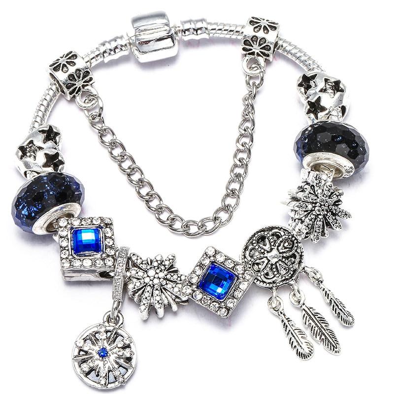 BAOPON Прямая поставка винтажные Подвески серебряного цвета браслеты для женщин DIY Кристальные бусины изящные браслеты для женщин Pulseira ювелирные изделия - Окраска металла: Type 13