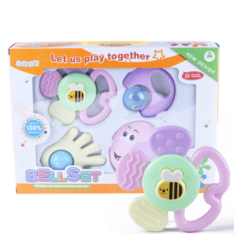 4 PCS Mixed Baby Rattles Set Learning Fun Development Toys 0-12 Months