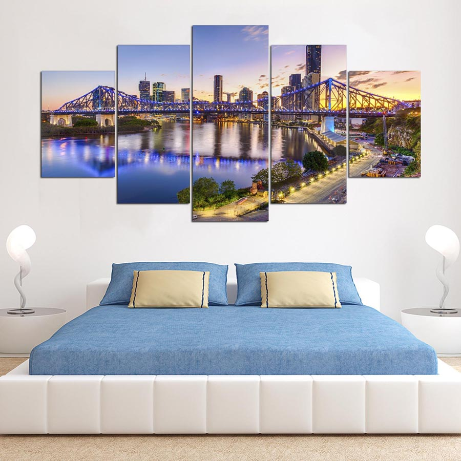 online get cheap sunset framed art aliexpress com alibaba group wall art pictures home decor posters frame 5 pieces hd printed sunset brisbane story bridge landscape
