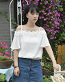 Off the Shoulder Top Tees  Flower side tanks  For Sexy Lady Solid Chiffon Clothing  Sweet Women tops Loose  short   Hot sale