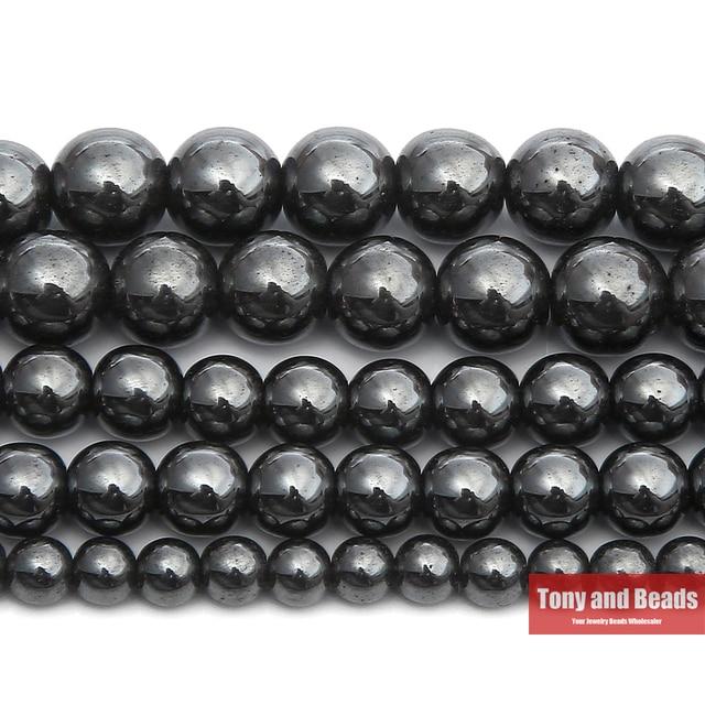 "Free Shipping Natural Stone Black Hematite Beads 4 6 8 10 MM 15"" Per Strand Pick"