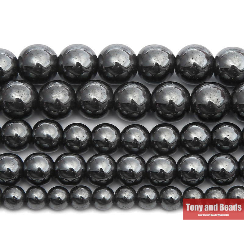 "Free Shipping Natural Stone Black Hematite Beads 4 6 8 10 MM 15"" Per Strand Pick Size For Jewelry Making(China)"