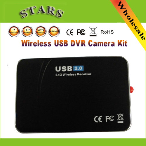 New 2.4G USB Wireless 4 Channel Camera Security DVR Receiver Surveillance System Kitm wholesale Free Shipping Dropshipping