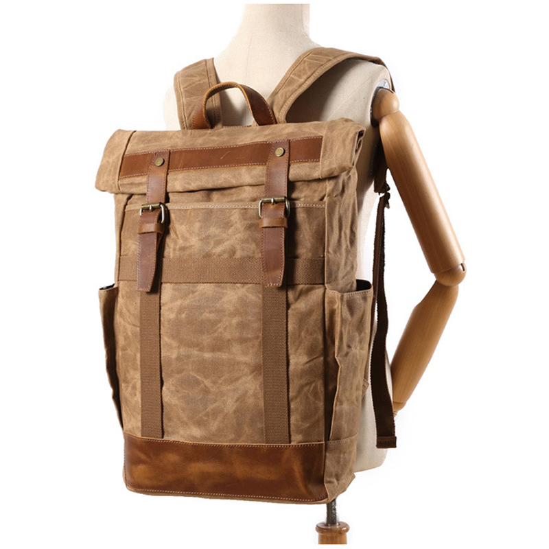 Кожаный мужской рюкзак BOSTANTEN, большие дорожные рюкзаки, школьный бизнес рюкзак 13 14 15 дюймов, рюкзак для ноутбука, сумка для компьютера с защи... - 6