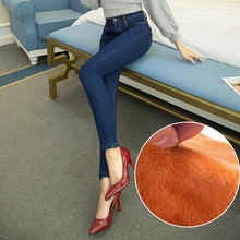 Кашемир зимние женские джинсы высокая талия стретч эластичный тощие теплые штаны для зимних женский denim повседневные брюки плюс размер