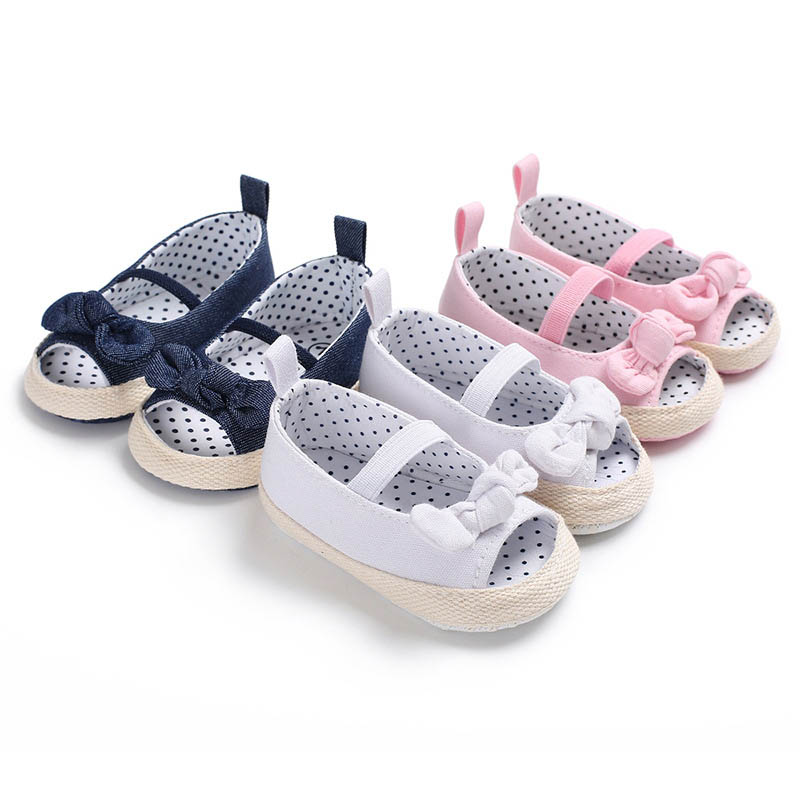2019 Latest Design Summer Baby Canvas Shoes Dots Printed Bowknot Soft Sole Girl Toddler Infant Prewalker 88 An88 To Make One Feel At Ease And Energetic First Walkers