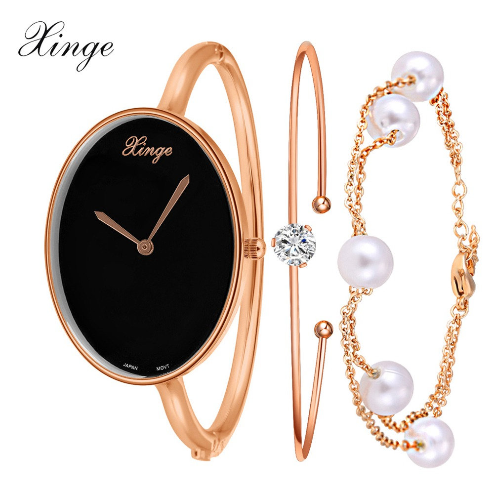Xinge Brand Women Quartz-Watch Waterproof Rhinestone Big Bracelet Wristwatch Set Fashion Casual Luxury Clock Women Watch xinge brand watch women bracelet rhinestone chain bangles jewelry watch set wristwatch waterproof ladies gold quartz watch