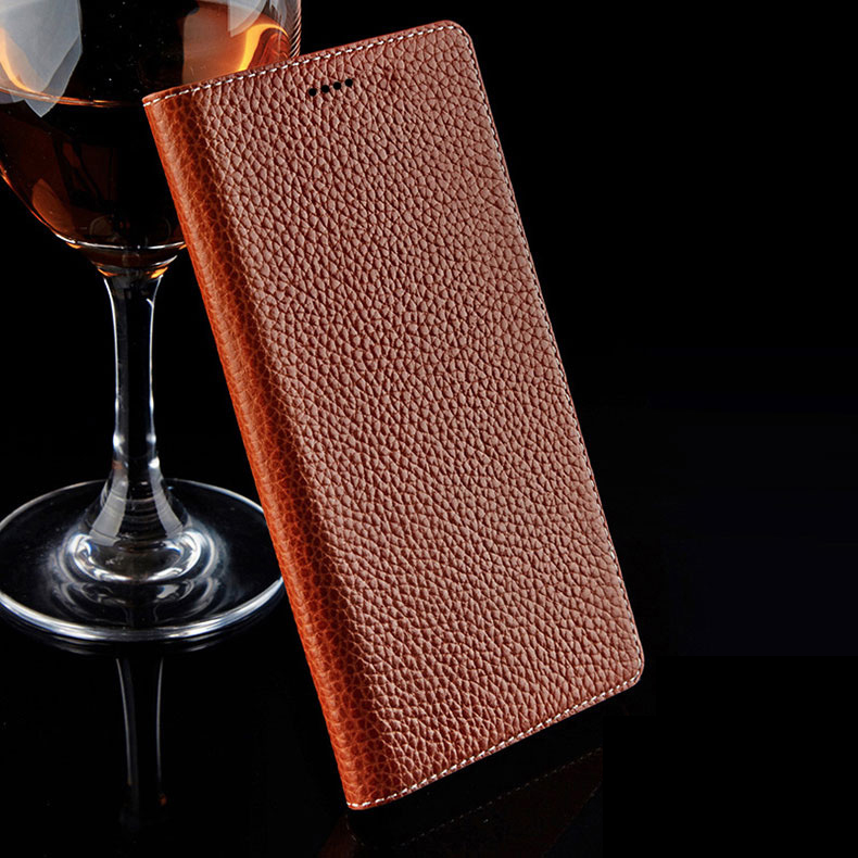 7 Color Natural Genuine Leather Magnetic Stand Flip Cover
