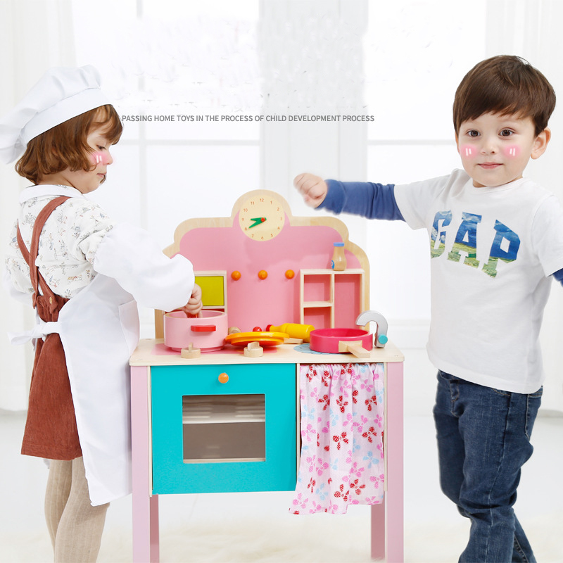 Onshine 82cm Kids Cooking Furniture Toy Playset Wooden Kitchen Food Pretend Play Set for 3+ Children Boys Girls Birthday Gifts mother garden high quality wood toy wind story green tea wooden kitchen toys set