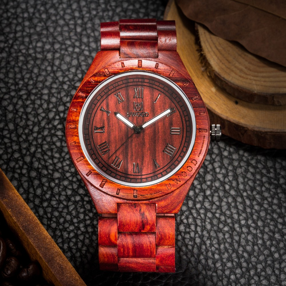 18 Hot Sell Men Dress Watch QUartz UWOOD Mens Wooden Watch Wood Wrist Watches men Natural Calendar Display Bangle Gift Relogio 25