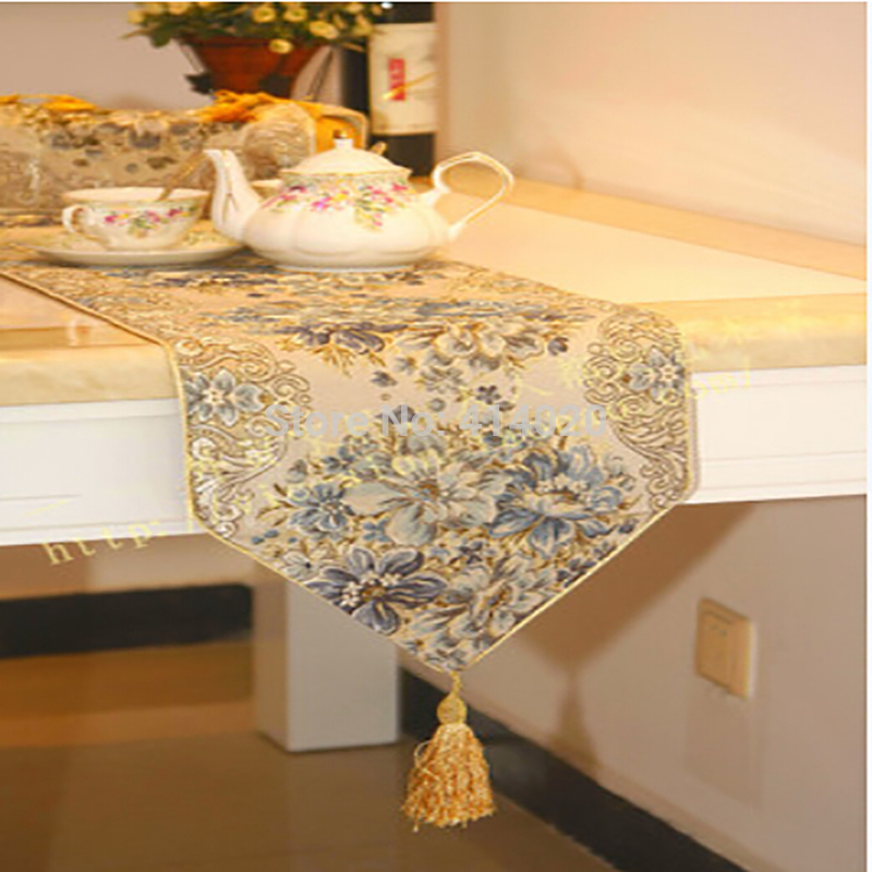 Free Shipping With FedEx Ups 50pcs 160-250Cm BlueLuxury Chic Table Cover Table Runner  Wedding Home Decoration