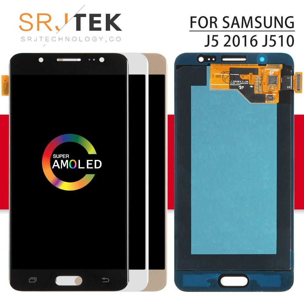 AMOLED pour Samsung Galaxy J5 2016 J510F LCD J510 affichage J5 2016 écran tactile numériseur capteur cadre en verre J510FN J510M J510Y