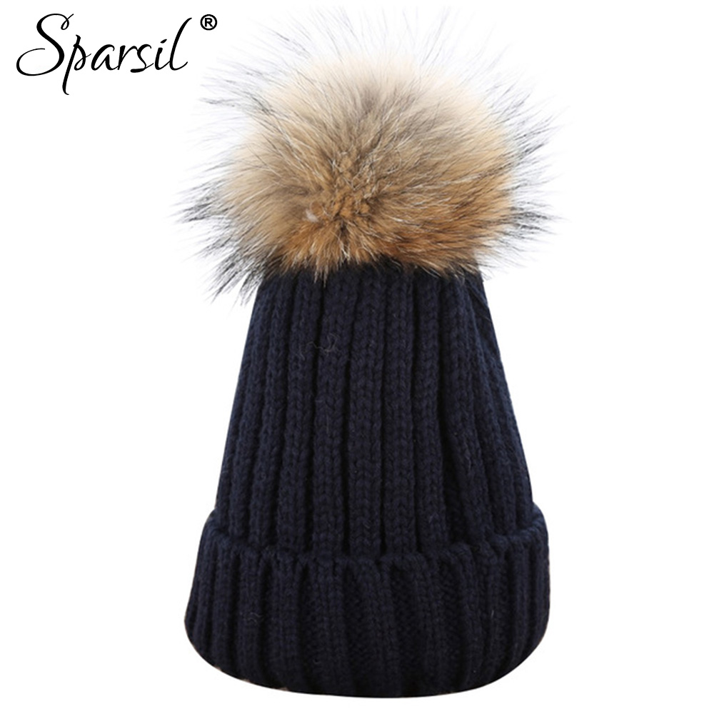 Sparsil Women Skullies Winter Crochet Warm Hats Femal Raccoon Fur Ball Knitted Thick Beanies Cap Female Christmas Pompom Caps skullies