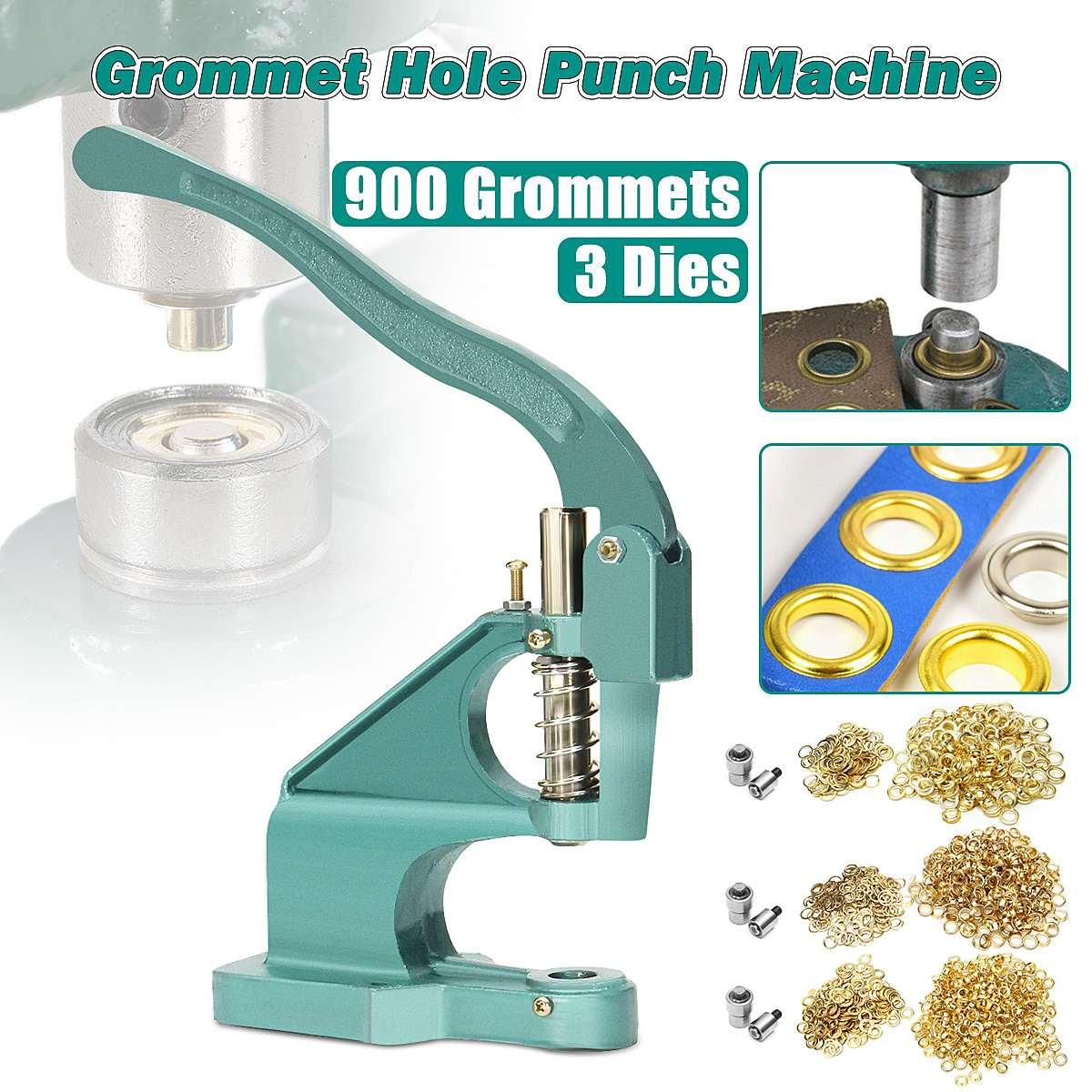 6//10//12mm Eyelet Hole Punch Machine Grommet Hand Press Steel Banner with 3 Dies