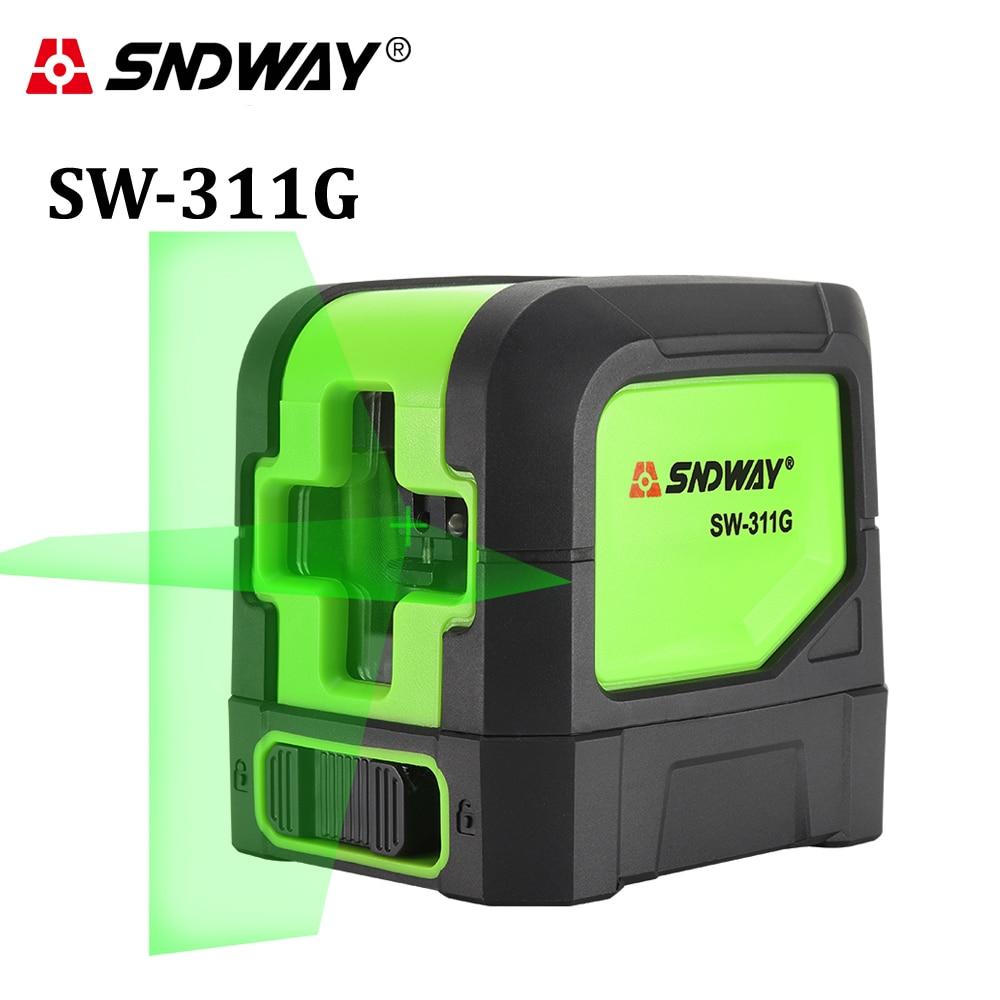 SNDWAY laser niveau Vert 2 lignes auto-nivellement laser Niveleur Vertical Horizontal Croix laser rouge faisceau ligne instrument de mesure