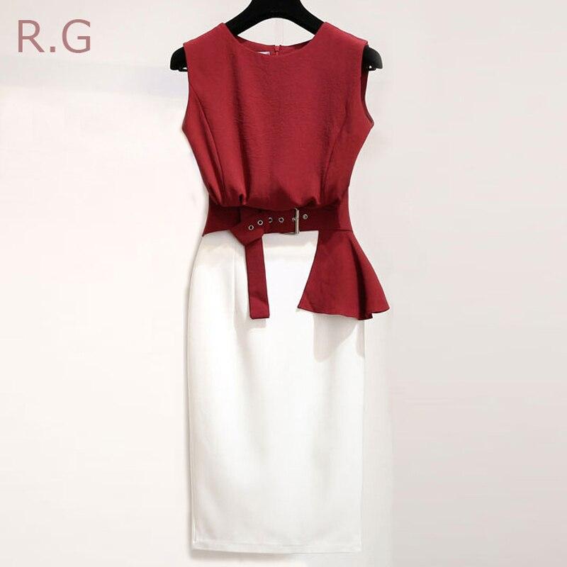 Rg Bureau Jupe Crop Pièce Wear Manches Blanc Work Volants Sans Rouge Lin Ceintures White Femmes Coton Top Blouse Ol Costumes Ensemble Wine 2 Red Vin xWrdCBoeQ
