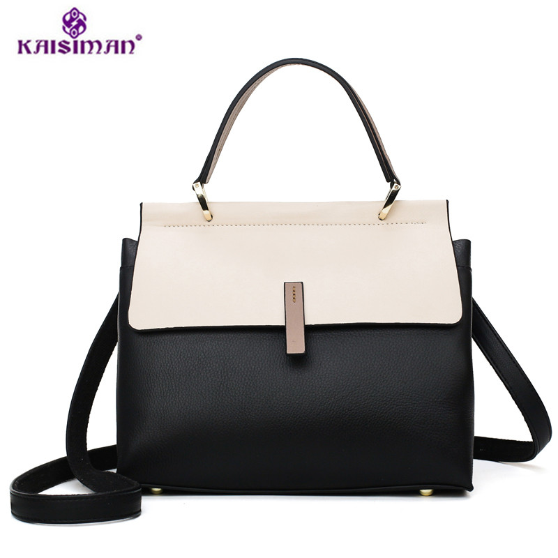 2019 Autumn and Winter Panelled Large Capacity Casual Totes High Quality Genuine Leather Shoulder Bags Women