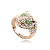 2 Color Austrian Crystal Leopard Ring Animals For Women Rose Gold Plating Rock Punk Rings For