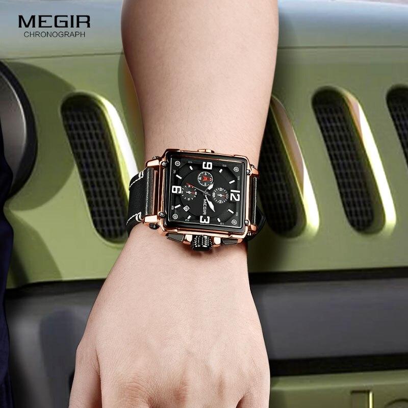 Image 5 - Megir Leather Strap Army Chronograph Quartz Wrist Watches Men Square Sports Stop Watch Man Clock Relogios Masculino 2061 RoseQuartz Watches   -