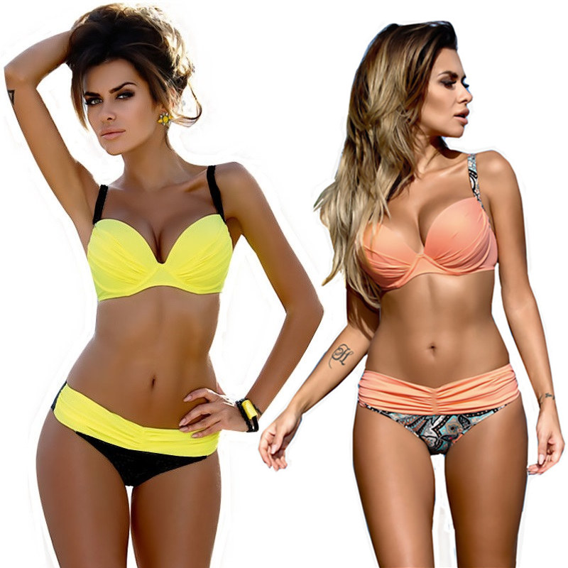 Bikini 2018 Swimwear Female S-XXL Sexy Push Up Swimwear Women Two Piece Swimsuit Split Bikini Set Biquini Women Brazilian Bikini la maxpa bikini swimwear women 2018 summer sexy bikini set push up swimsuit female two piece swimsuit women halter yellow bikini