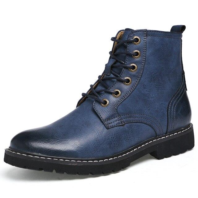 Skórzane Buty Męskie Buty Wysokiej Góry Zimą Botki PU Skóra Z Futerkiem Lace-Up Ciepłe Buty Śniegu Mody Męskiej buty robocze Darmowa Wysyłka