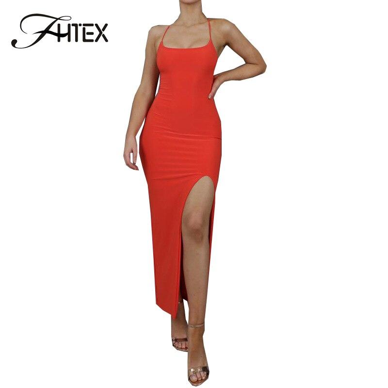 FHTEX solide sans manches moulante Cami robe Sexy côté fente été longue robe élégante soirée Maxi robe femmes