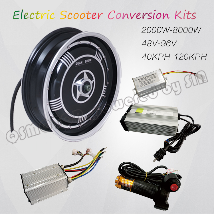 <font><b>QS</b></font> <font><b>Motor</b></font> 13inch <font><b>273</b></font> 3000W Single Shaft In Wheel Hub <font><b>Motor</b></font> Electric Motorcycle Conversion Kit image