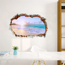 Adhesivo de pared 3D de KAKUDER, decoración hogar familiar para playa, dormitorio, sala de estar, Adhesivo de pared de TV, adhesivo bonito para puerta de papel pintado, pegatinas 11DEC25(China)