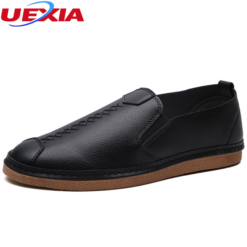 UEXIA New Arrival Men Shoes Casual Luxury Leather Footwear Black Fashion Comfortable Sneakers PU Leather Breathable Moccasins new hot sale children shoes pu leather comfortable breathable running shoes kids led luminous sneakers girls white black pink