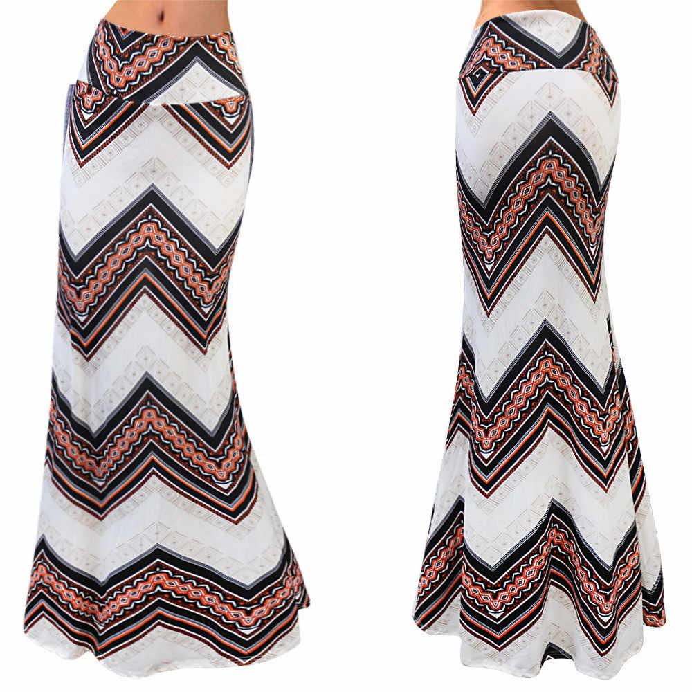 Womail חצאית אופנה גבירותיי נשים הצוענית ארוך ג 'רזי Bodycon מקסי חצאית גבירותיי חצאיות 2019 Apr18 Dropship