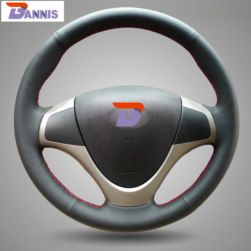 BANNIS Black Artificial Leather DIY Hand-stitched Steering Wheel Cover for Hyundai i30 2009 i30