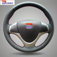 Black Artificial Leather DIY Hand Stitched Steering Wheel Cover For Hyundai I30 2009 I30