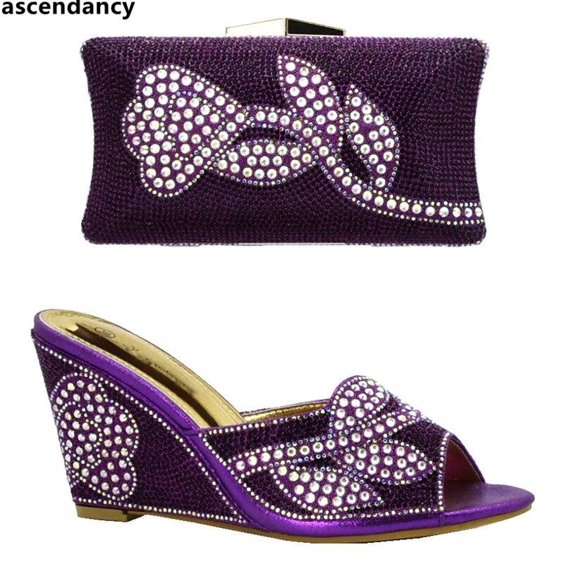 afrikanischen Damen Taschen passenden Mode italienische Neueste High zu Tasche passen Strasssteinen und Schuhe RotGoldLilaBlaugr Set mit Heel QChtBrsdx