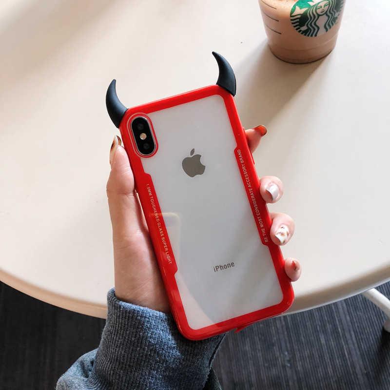 Lüks sevimli 3D şeytan boynuz şeffaf yumuşak telefon kılıfı için iphone 6 S 5 5 S 7 8 artı X XR XS MAX kapak samsung galaxy S8 S9 Not