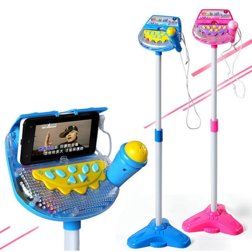 Hot SaleKids Stand Type Adjustable Microphone Karaoke Microphone Early Education Musical Toy Boys Girls Birthday Gift 2 Colors