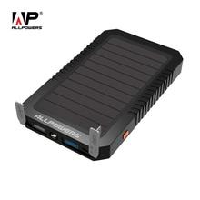 Allpowers солнечной энергии Мощность Bank 12000 мАч Портативный Солнечный Зарядное устройство аварийного Внешняя Батарея Мощность Bank со светодиодной подсветкой для мобильного телефона