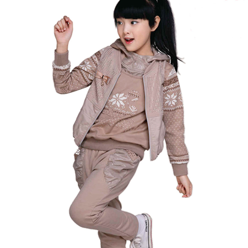 ФОТО Girls Suit Spring and Autumn New Female Children's Clothing Korean Three-piece Kids Clothing Sets Khaki Pink