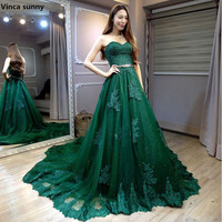 Robe De Soiree 2018 Sexy Backless Long Evening Dresses The Bride Elegant Banquet Green Lace Sweetheart