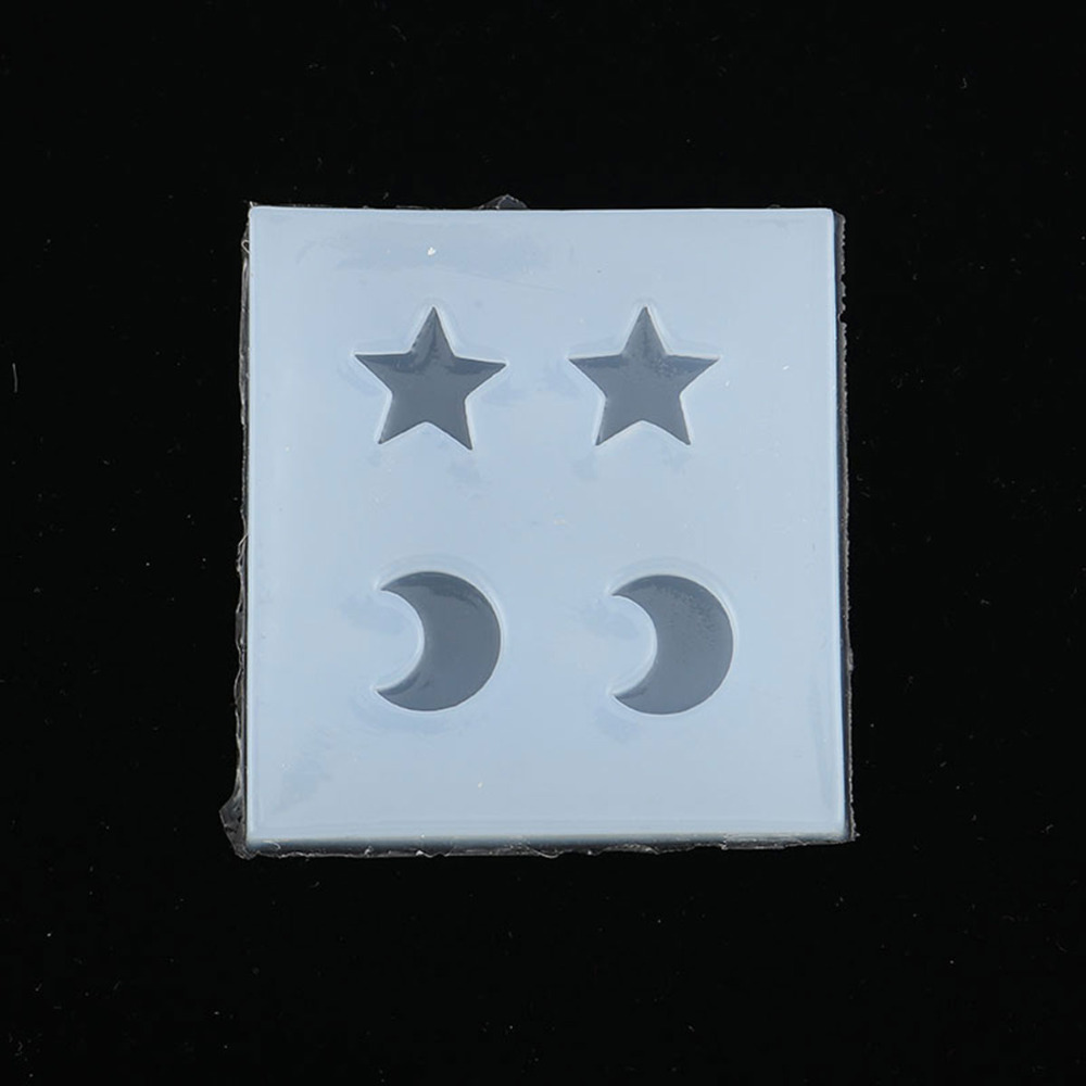 """Doreen Box Fashion DIY Gifts Silicone Resin Mold For Jewelry Making Star White Moon Jewelry Tools 52mm(2"""") x 50mm(2""""), 2 PCs"""