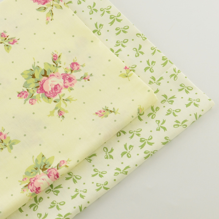 2 pieces rose bow 40cmx50cm Cotton Fabric patchwork fabrics quilting bedding home textile sewing material tecido tissue tida