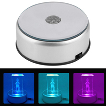 LED Colorful Luminous Base USB Light Laser Rotating Electric Crystal Display Base Stand Holder with Glass Transparent Objects