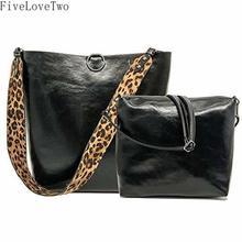 781b3fd170 FiveLoveTwo Women 2 Pcs Leopard Print Bag Reversible Leather Tote Bag  Oversized Top Handle Large Shoulder
