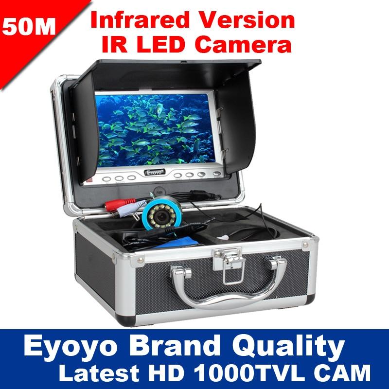 Eyoyo Original 50M 1000TVL Fish Finder Underwater Fishing 7 Video Camera Monitor AntiSunshine Shielf Sunvisor Infrared IR LED цена