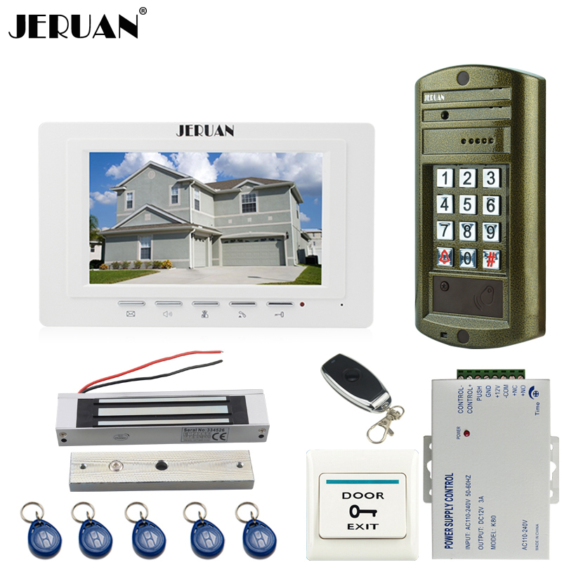 JERUAN 7 inch Video Door Phone Intercom System kit White Monitor+ waterproof password keypad HD Mini Camera +180kg Magentic lock jeruan home 7 inch video door phone intercom system kit new metal waterproof access password keypad hd mini camera 2 monitor