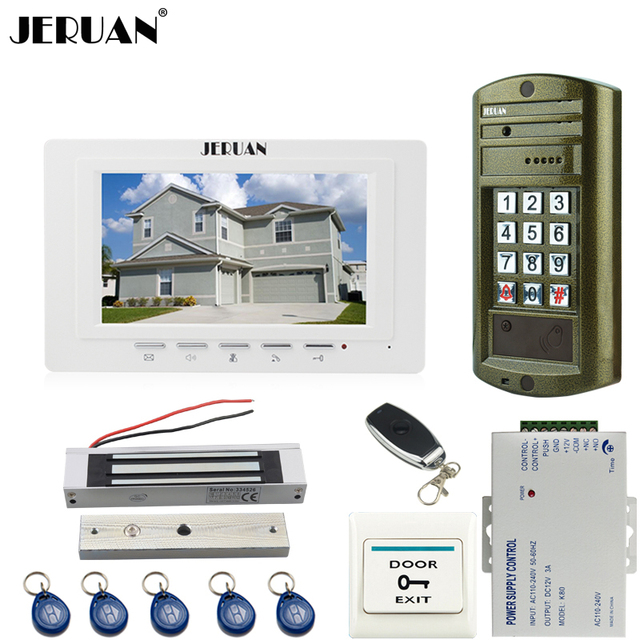 JERUAN 7 inch Video Door Phone Intercom System kit White Monitor+ waterproof password keypad HD Mini Camera +180kg Magentic lock