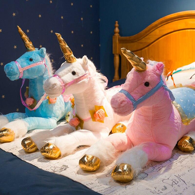 Jouets en Peluche licorne blanche Jumbo 85 cm licorne géante Peluche Animal cheval jouet doux Unicornio Peluche poupée cadeau enfants accessoires Photo - 3