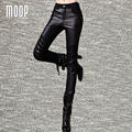 Floral embroidery genuine leather pants fleece lining trousers sheepskin spliced pants pantalon femme pantalones mujer LT988